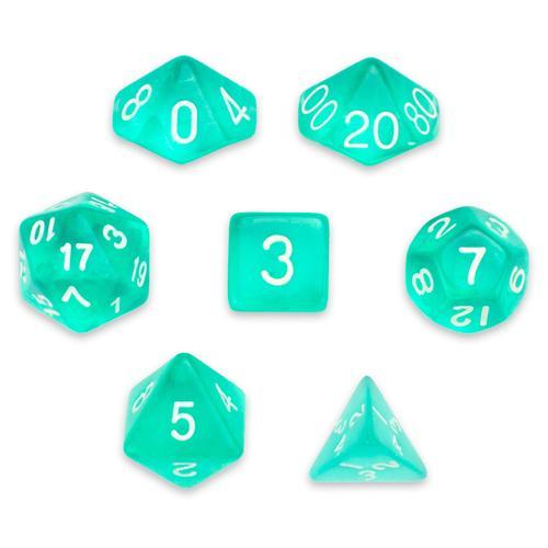 7 Die Polyhedral Set in Velvet Pouch, Cloud Drop