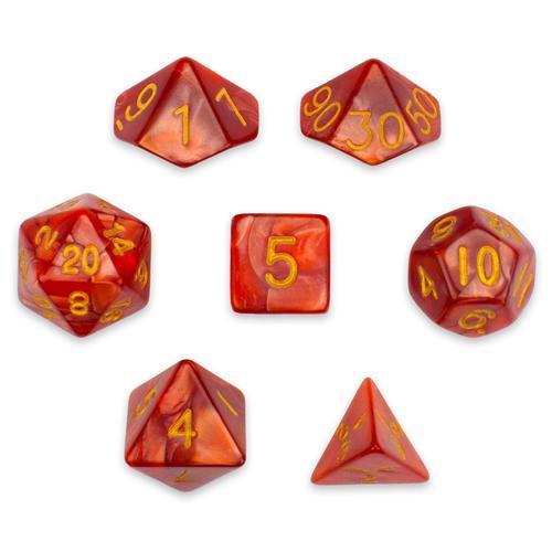 7 Die Polyhedral Set in Velvet Pouch, Dragon Scales