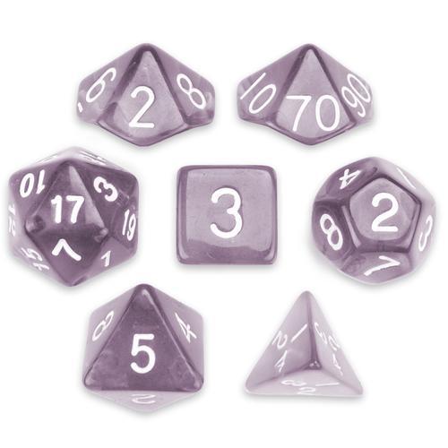 7 Die Polyhedral Set in Velvet Pouch, Drowskin