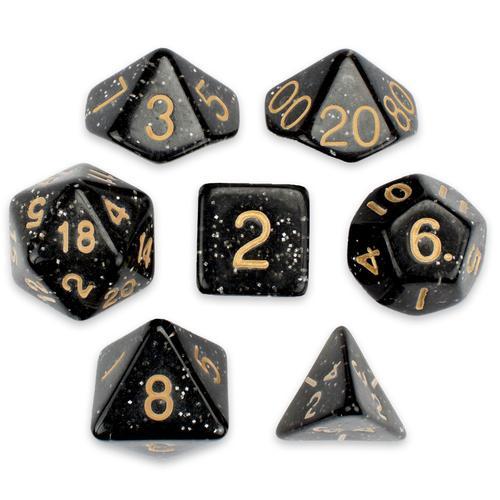 7 Die Polyhedral Set in Velvet Pouch, Stardust
