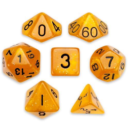 7 Die Polyhedral Set in Velvet Pouch, Dwarven Brandy