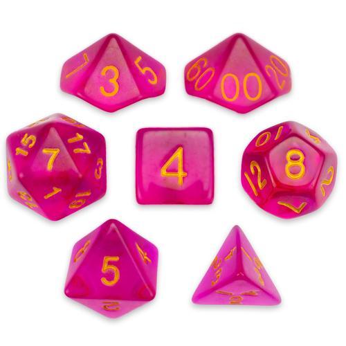 7 Die Polyhedral Set in Velvet Pouch, Faerie Fire