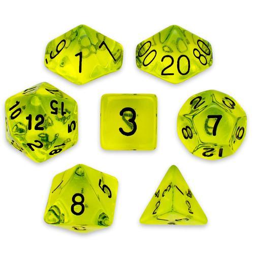 7 Die Polyhedral Set in Velvet Pouch, Boiled Bile