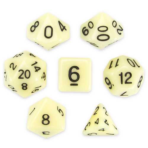 Set of 7 Polyhedral Dice, Goblin Teeth