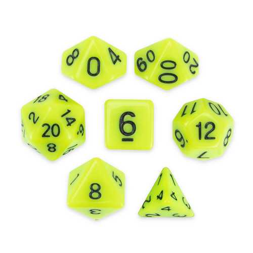 Set of 7 Polyhedral Dice, Sticky Ichor