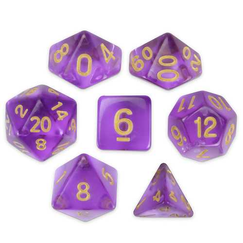 Set of 7 Polyhedral Dice, Ambrosia