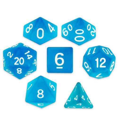 Set of 7 Polyhedral Dice, Sea Glass