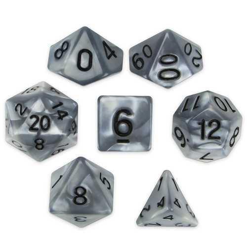 Set of 7 Polyhedral Dice, Quicksilver