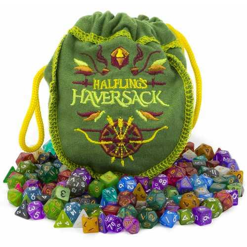 Halfling's Haversack, 140 Mini Polyhedral Dice