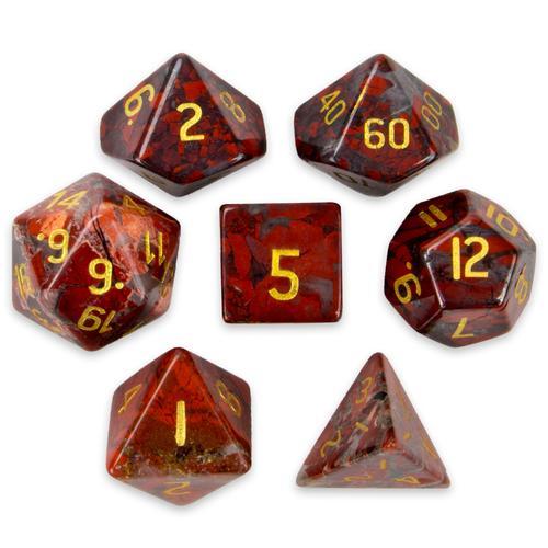 Set of 7 Handmade Stone Polyhedral Dice, Poppy Jasper