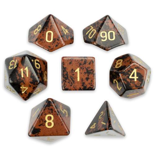 Set of 7 Handmade Stone Polyhedral Dice, Mahogany Obsidian
