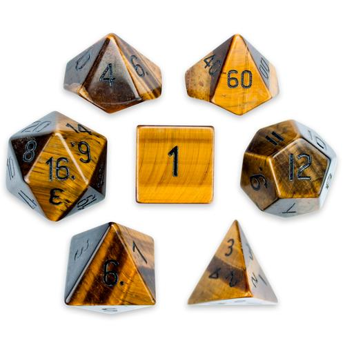 Set of 7 Handmade Stone Polyhedral Dice, Tiger's Eye