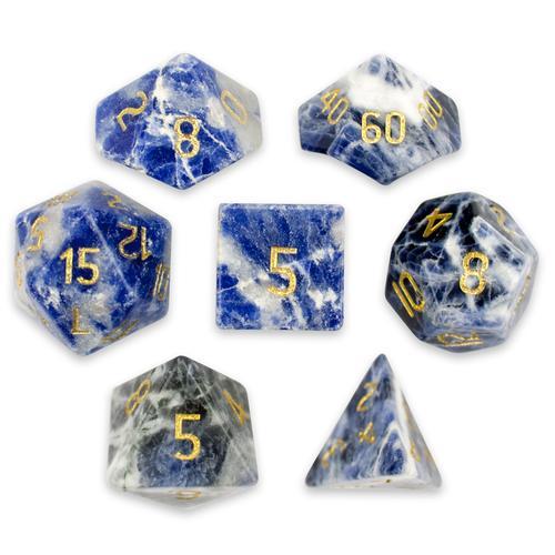 Set of 7 Handmade Stone Polyhedral Dice, Sodalite
