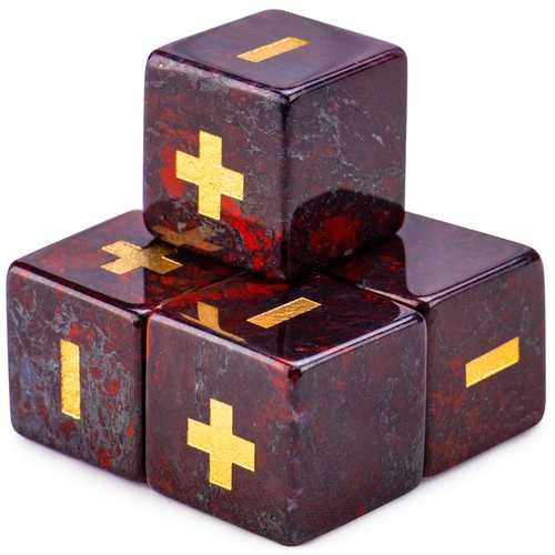 Handmade Stone Fudge Dice, Poppy Jasper, 4-pack