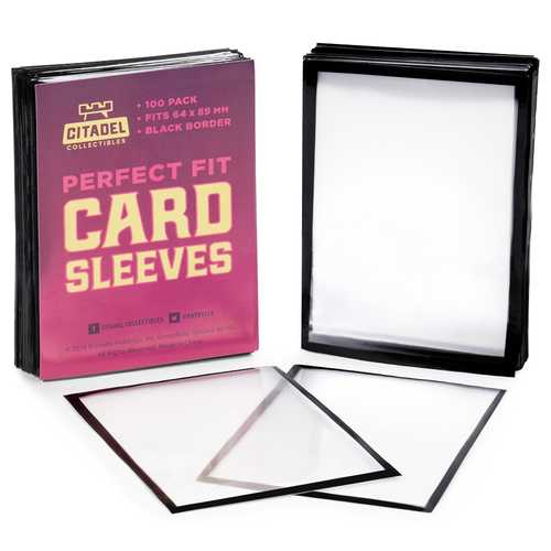 Perfect Fit Card Sleeves, Black Border, 100-pack