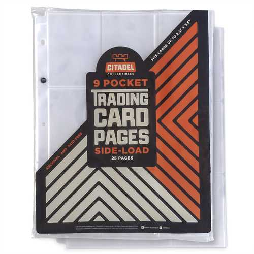 9-pocket Trading Card Pages, Side-Load, 25 Pages
