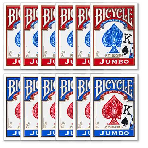 12 Bicycle Poker Size Jumbo Index -Red/Blue