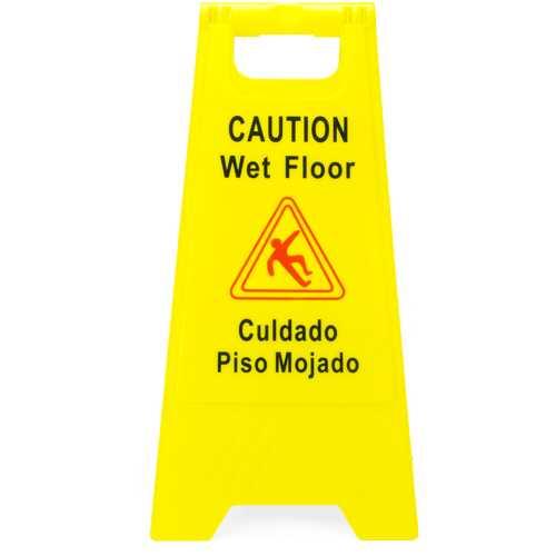 Caution Wet Floor Sign, English & Spanish
