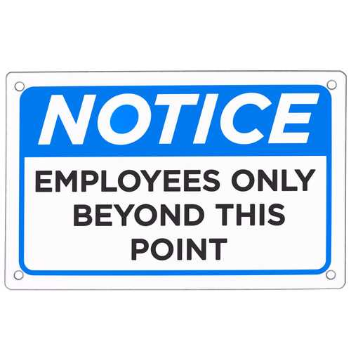 """Employees Only Sign 18"""" x 12"""""""