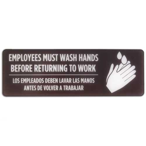 Bilingual Spanish/English Employees Must Wash Hands Sign
