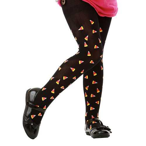 Black Candy Corn Costume Tights, L