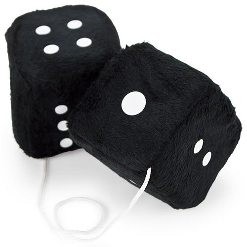 Pair of Black 3in Hanging Fuzzy Dice