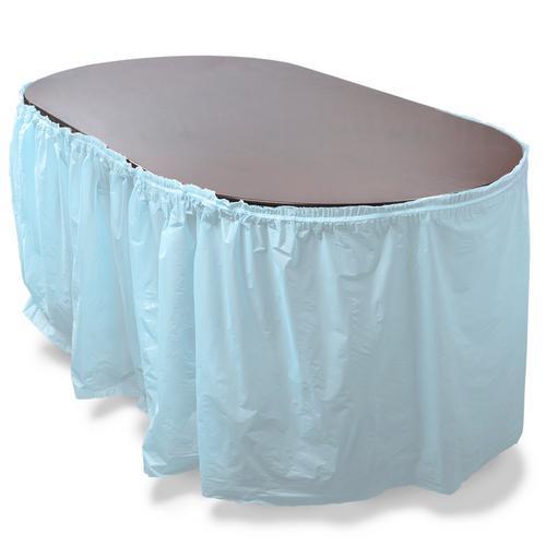 14' Light Blue Reusable Plastic Table Skirt, Extends 20'+