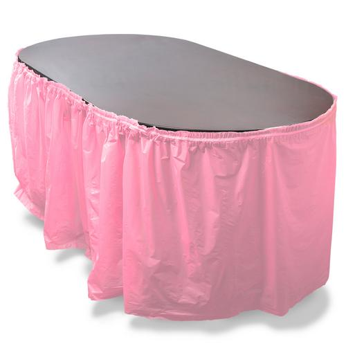 14' Pink Reusable Plastic Table Skirt, Extends 20'+