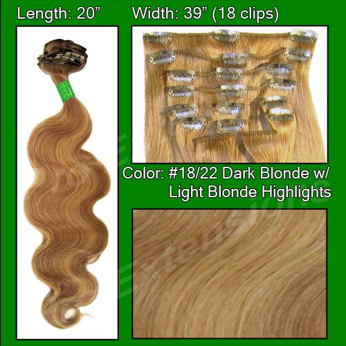 "#18/22 Dark Blonde with Light Highlights - 20"" Body Wave"