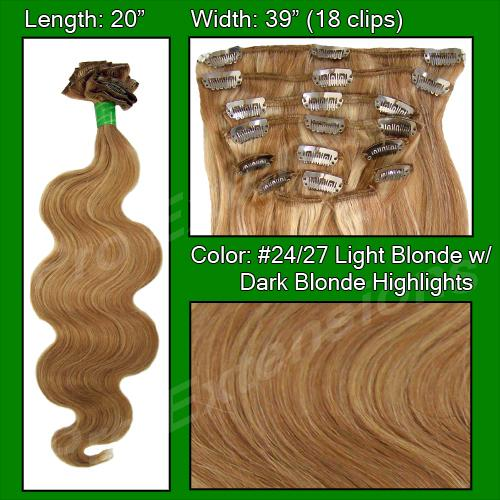 "#24/27 Light Blonde w Dark Blonde Highlights - 20"" Body Wave"