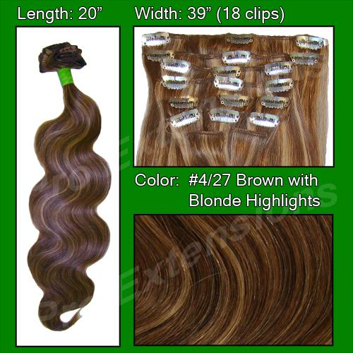 "#4/27 Dark Brown w Golden Blonde Highlights - 20"" Body Wave"