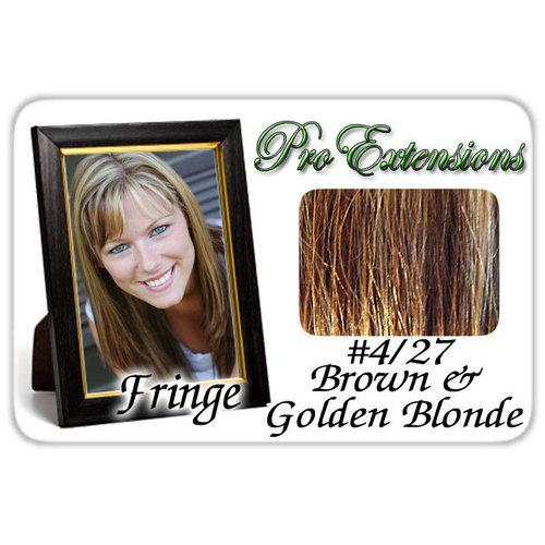 #4/27 Brown w/ Golden Highlights Pro  Fringe Clip In Bangs