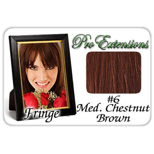 #6 Medium Chestnut Brown Pro  Fringe Clip In Bangs