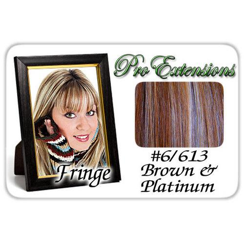 #6/613 Chestnut Brown & Platinum Highlights Clip In Bangs