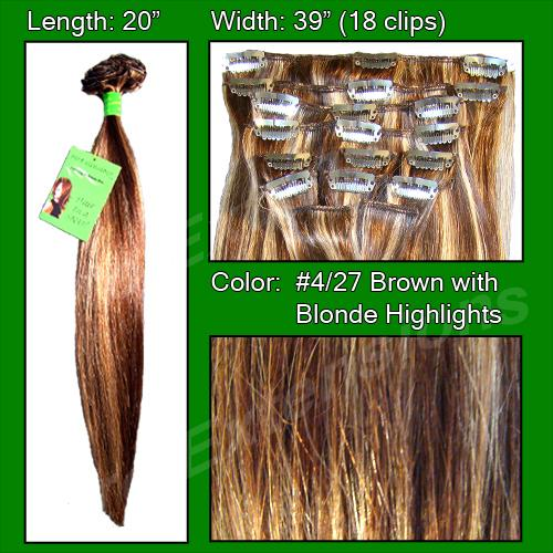 #4/27 Brown w/ Blonde Highlights - 20 inch Remi