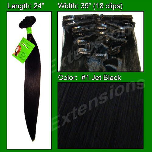 #1 Jet Black - 24 inch Remy