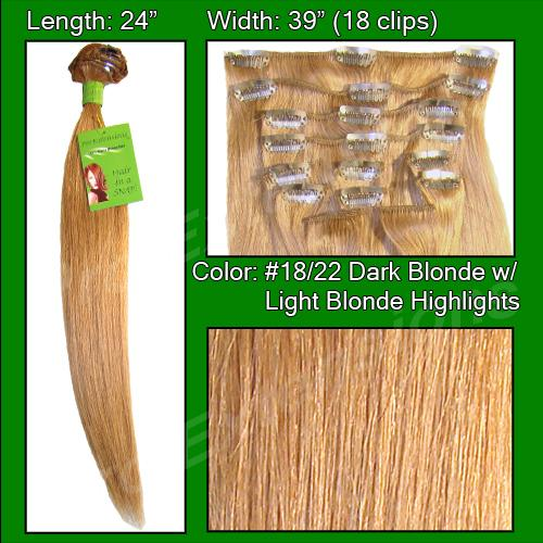 #18/22 Dark Blonde with Golden Highlights - 24 inch Remy