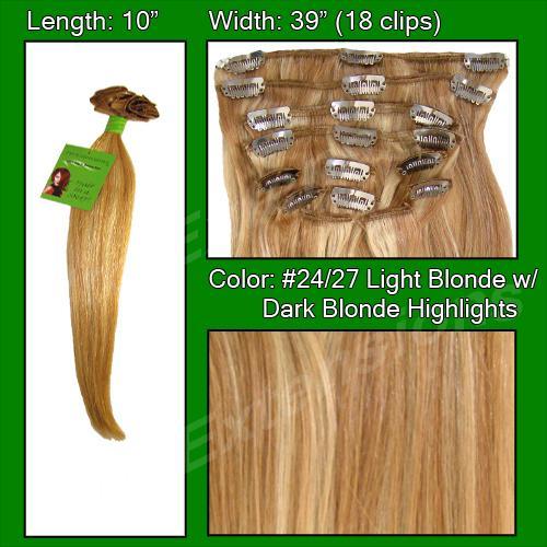 #24/27 Light Blonde w/ Dark Blonde Highlights - 10 inch
