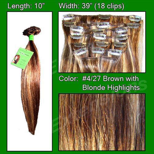 #4/27 Brown w/ Blonde Highlights - 10 inch