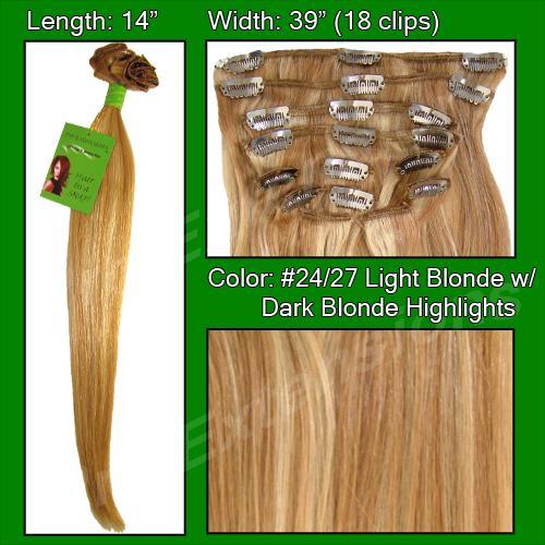 #24/27 Light Blonde w/ Dark Blonde Highlights - 14 inch