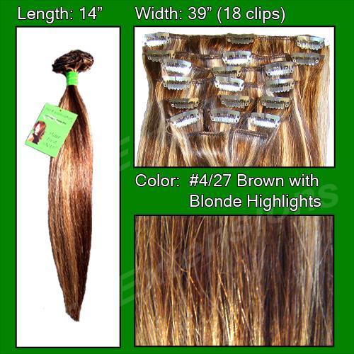 #4/27 Dark Brown w/ Godlen Blonde Highlights - 14 inch