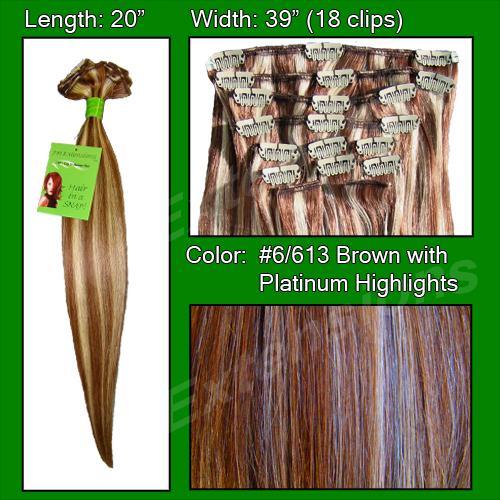 #6/613 Chestnut Brown w/ Platinum Highlights - 20 inch