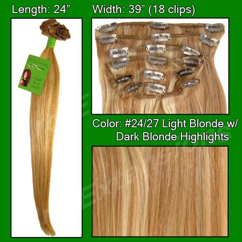 #24/27 Light Blonde w/ Dark Blonde Highlights - 24 inch