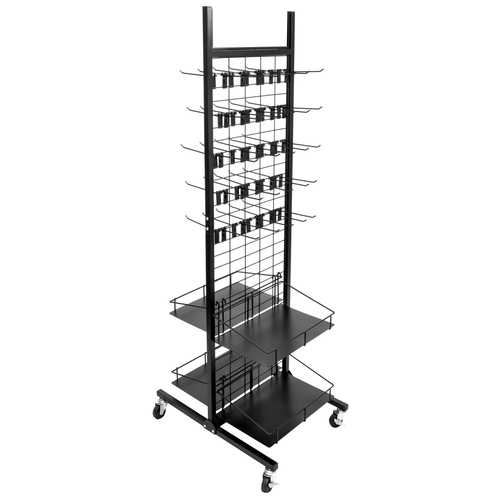 Rolling Display Rack, 50 Hooks, 4 Shelves