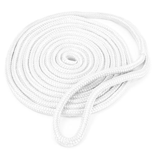 15' Double-Braided Nylon Dockline, White