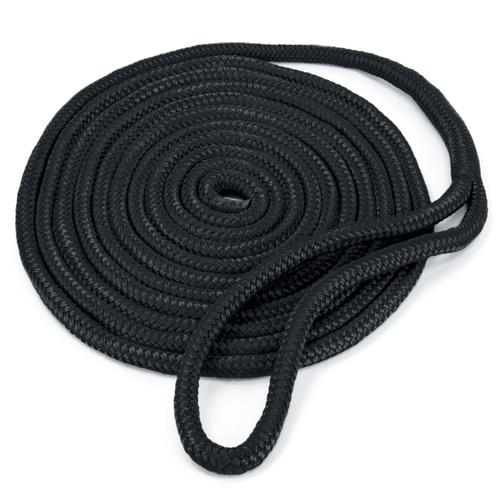 15' Double-Braided Nylon Dockline, Black