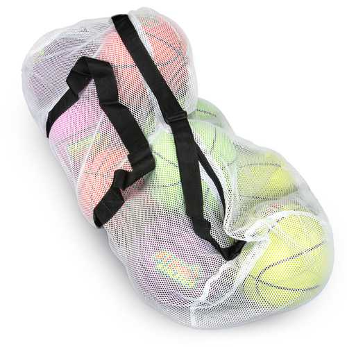 "39"" Mesh Sports Ball Bag with Strap, White"
