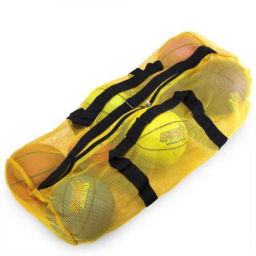 "39"" Mesh Sports Ball Bag with Strap, Yellow"