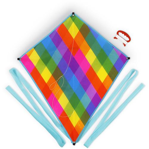 Rainbow Plaid Diamond Kite