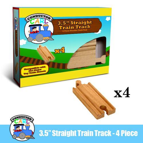 3.5' Straight Wooden Train Tracks, 4-pack